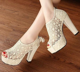 Free Shipping+Factory Price Lace Sandals For Women Open Toe Beige Black High Heel 1PR Lot 0521S3