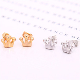 10Pair- S019 Gold Silver Tiara Small Princess Crown Stud Earrings Simple Royal Crown Stud Earrings Geometric Jewelry for Women