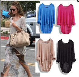 Hot Selling Sprin&Summer European Street Style Super Thin Long Sleeve Hollow Out Shirts Knitting Sweater Bat Loose Tops
