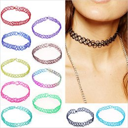 Wholesale-Tattoo Choker 90s Wholesale Fashion Elastic Vintage Stretch Tattoo Choker Necklace Gothic Punk Elastic Adjustable Stretchy