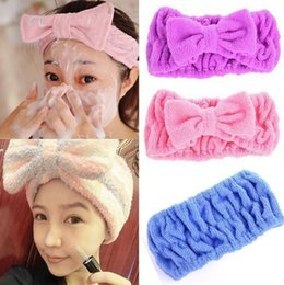 Wholesale Cute Bowknot Fibre Hair Wrap Shower Wash face Bath Spa Make up Headband Hairband