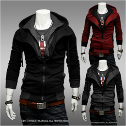 men's Jacket Slim Korean Hit color Fake two piece Sweater Casual Hooded Jacket Outerwear Red