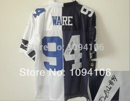 Wholesale Factory Outlet DeMarcus Ware Signed White Blue Split Elite New Brand Authentic Football Jerseys Sewn On Jersey Cheap
