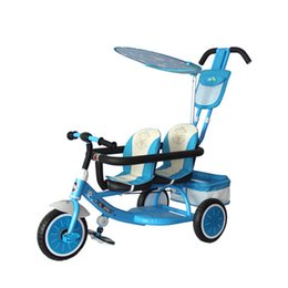 Wholesale New Fashion Tricycle Baby Stroller Patchwork Multifunction Shading Safe Adjustable Double Seats Twins Bicycle JN0039