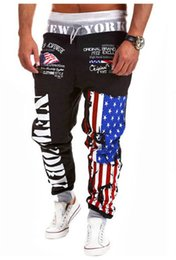 Wholesale-Alisister 2015 Personality Casual Pants Mens Joggers American Flag Star Print Trousers Overalls Sweatpants Hip Hop Harem Pants
