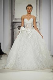 Wholesale Satin Corset Bodice Wedding Gown - Fashion Pnina Tornai Wedding Dresses Vintage Lace Victorian Puffy Ball Gowns Sweetheart Corset Bodice Bowknot Tiers Bridal Gowns 2015 New