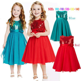 Girls Dress Princess Kids Lace Tutu 2016 Infant Snowman Printed Baby Clothing Birthday Party Blingbling Dresses Red with Bow Belt