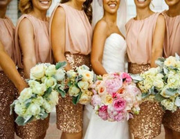 Romantic Short Bridesmaid Dresses 2015 Gold Sequin Crew Neck Sleeveless Sheath Knee Length Wedding Party Gowns Cheap Bridesmaid Gowns