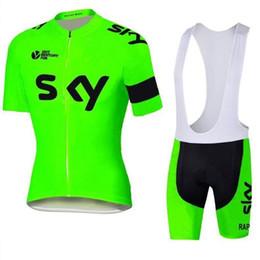 Купить Онлайн Франция человек-2016 Тур де Франс Команда Sky Велоспорт Джерси дневной зеленый Комплект с коротким рукавом Мужчины Велоспорт скафандр Открытый Велоспорт XS-4XL
