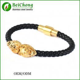 BC Jewelry Silver gold  Lion Head Cool Bracelet Men and women,Braided Leather Lion Head Bracelets Wholesale Bracelet hot selling BC-201