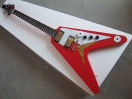 Wholesale-2015 New Brand Customized the Red V Shape Electric Guitar with the Mahogany Body and Neck