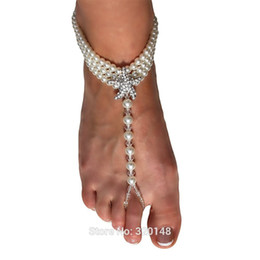 Wholesale TS001 Women Barefoot Sandals One Size Ivory Pearls Starfish Rhinestones Beach Wedding Shoes