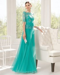 Wholesale 2015 Green Prom Dresses Sheer Scalloped Lace Flowers A Line Formal Dress Half Long Sleeve Sash Bridesmaid Gown Floor Length Aire U251