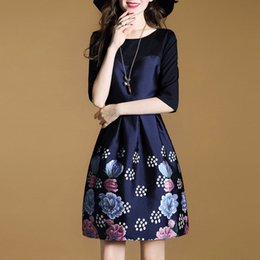 Wear splicing dress European and American new women's wear splicing dress, A skirt with Three Quarter Sleeve