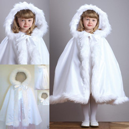 Wholesale Little Girls Fashion Belts - New Winter White Little Children winter cloak Wedding Party Flower Girls Cloaks With Faux Fur Hooded kids Capes Poncho BO2327