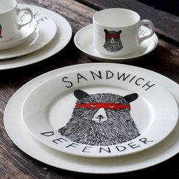 Wholesale The Sandwich Defender Bear side plate Porcelain Dinnerware Set quot plate quot plate Coffee cup and dish