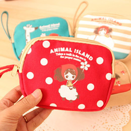 Wholesale-2015 Special Offer Promotion Bag B753 Korean Cartoon Girl May Ai Pula Double Zipper Purse Canvas Art Phone Headset Card Package