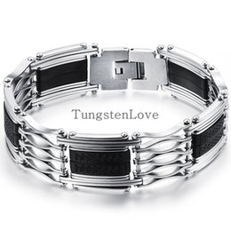 Wholesale-22.5cm Fashion Mens Stainless Steel Bracelets With Black Silicone Wholesale 2015 New Arrived Metal Bracelet 17cm wide