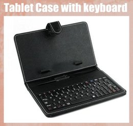 Wholesale With keyboard micro usb tablet PC case leather PU case fit for inch PDA MID tablet PC black purse style cover adjustable PCC016