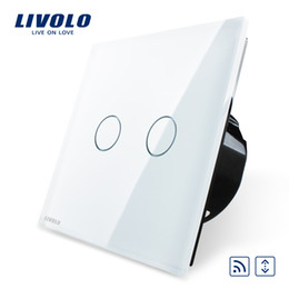 Wholesale Livolo EU Standard Touch house home led remote curtains Switch VL C702WR with Luxury White Crystal Glass Panel