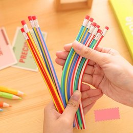 Wholesale Baby Kids Girls Boys Colorful Magic Bendy Flexible Soft Bendable Pencil Pen With Eraser Christmas Birthday Writing Gift free ship