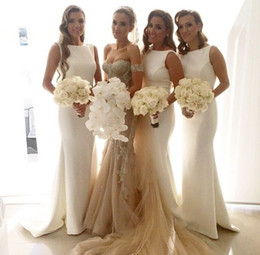 Simple Ivory Bridesmaid Dresses 2016 Jewel Mermaid Sweep Train Satin Cheap Party Dress Formal Gowns Custom made