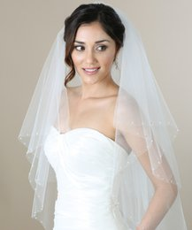 Wholesale Bridal Veils tier Fingertip Veil With Pearls And Rhinestones White Ivory Or Champagne KR V7271 Wedding Veil Bel Aire Cut Edge