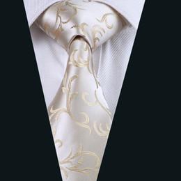 Men Tie Set Wholesale Ivory Jacquard Gold Pattern Mens Suit Necktie Novelty Woven Classic Fashion Wedding Neck Ties For Men D-1117