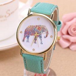 Wholesale Women Elephant Design Flower Silkscreen Printing Ladies Leather PU Strap Wrist Watches Fashion Dress High Quality Quartz Best Gifts Watches