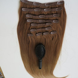160g 20 22inch Brazilian Clip in hair Extension 100% humann hair T8&14# Remy Straight Hair weaves 10pcs set free comb
