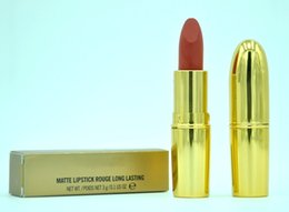Wholesale Matte Lipstick Rouge Long Lasting Fashion Colors with Gold Tube Have English Name Lipstick g