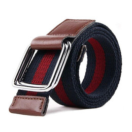 2016 Hot Sale Fashion Men's canvas belt double ring buckle belts Leather Belt Designer Belts For Men