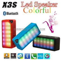 Wholesale Gift Bluetooth Mini Speaker X3S Colorful LED Flashing Light Wireless Portable Speakers USB Disk TF Slot MP3 MP4 Music Player Water Cube Box