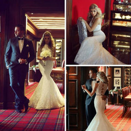 Hot Sale High Neck Lace Mermaid Wedding Dresses Hollow Back Sleeveless Beaded Belt Romantic Trumpet Bridal Gowns 2019 Custom Made