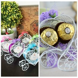 Wholesale Iron Wire Candy Boxes Favor Holders Baby Shower Wedding Suppliers Chocolate Package Sweeties Box Carriage Heart Flowers Adorned