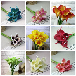 Wholesale 2016 Decorative flower Wreaths Picasso artificial real touch flowers for mini calla lily flower wedding decoration Festive Party Supplies