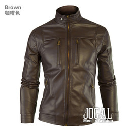 Autumn Clothing Men Leather Jacket Mandarin Collar Mens Jacket Black Brown Factory Drop Shipment
