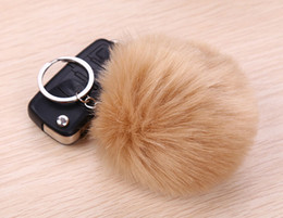 Wholesale Fashion Daily Deals Rabbit Fur Ball Cute multicolor Silver Metal Key rings Keychain For Car Bag Key Chains Pendant Accessories Free