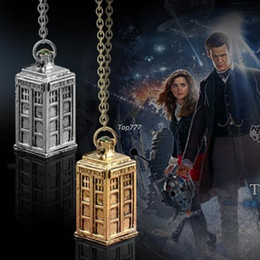 Wholesale Antique Silver Gold DOCTOR WHO Tardis Telephone Booth Police Box Retro Pendant Necklace Men Women Necklace