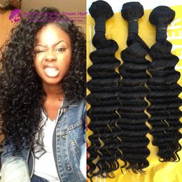 Les cheveux ondulés tissent pour les femmes noires en Ligne-3Pcs / Lot Indian Human Hair Deep Wave 100% Unprocessed Human Hair Weaves Weavy Weavy wefts pour les femmes noires