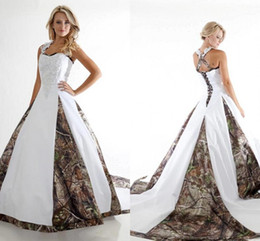 Top Sell New Camo Wedding Dresses A Line Off Shoulder Appliqued Ruffles Lace-up Back Floor Length Bridal Gowns BA1737
