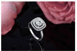 Wholesale Big Heart Wedding Rings For Women white gold filled Jewelry Engagement vintage ring zirconia bijoux Accessories gemstone rings MSR078