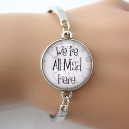 Wholesale Glass Picture Letter Bracelets Bangles We re All Mad Here Spiral Clock Background Jewelry