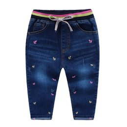 Wholesale Sweety NEW spring Girls jeans Embroidery anchor cotton washed Knitted waist draw cord Soft jean pants Children kids jeans PP pant