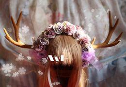 Wholesale Original hand made lolita headdress Yosemite painting color big antlers headband kc