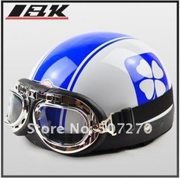 Wholesale-C.16 ABS Half Face Bol Vespa Motorcycle White # Blue leaf Stripe Helmet , Motorbike Casco , Cycling Helm & Goggles Adults M L