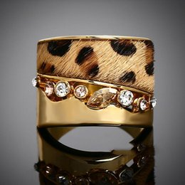 Wholesale Brand Designer Textured k Gold Plated Leopard Animal Print Fur Horse Hair Rings New Design Luxury Ring Evening party