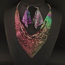 Wholesale Indian Chic Style Shining Metal Slice Bib Choker Statement Necklaces Matching Earring Party Wedding Fashion Jewelry Sets