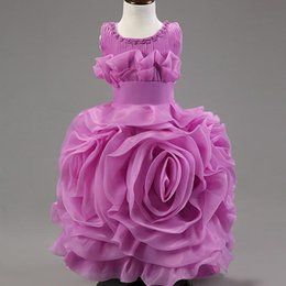 Compra Online Faldas para las muchachas de los niños-Comercio exterior de la nueva llegada caliente de la venta 2016 en niños de la falda del tutú del vestido de la muchacha de flor del vestido de boda del color de rosa de las muchachas del soplo de las muchachas de soplo de Europa y de América