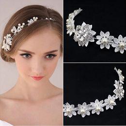 Cheap Fashion Crystal Pearl Flower Party Wedding Hair Accessories Bridal Headband Tiara Headwear Silver Pearls Bridal Crown Headbands